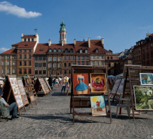 Painter sells his wares at Warsaw's Old Town Market Square