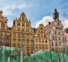 Wroclaw, fontaine sur la place de la ville
